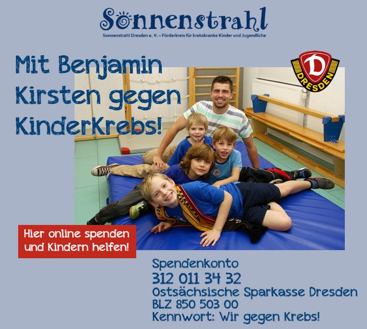 Mit Benjamin Kirsten und GRÜN spendino gegen KinderKrebs