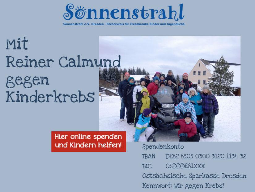 Rainer Calmund und die Sonnenstrahl e.V. sammeln mit GRÜN spendino gegen Kinderkrebs