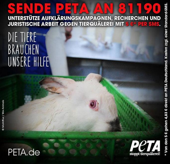Wie PETA Deutschland e.V. in zwei Kanälen mit der spendino Charity SMS abhebt.