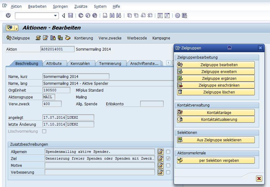 Aktionen in GRÜN MFplus, SAP-Software für Spendenorganisationen