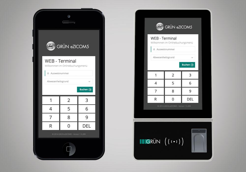 Zeiterfassung via Smartphone und mit GRÜN Pro Web-Terminal