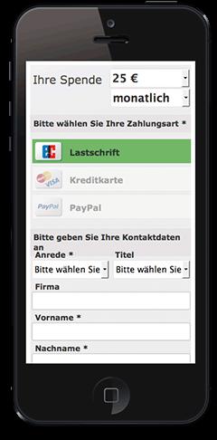 GRÜN spendino Mobile, das Spendenformular für Smartphones.