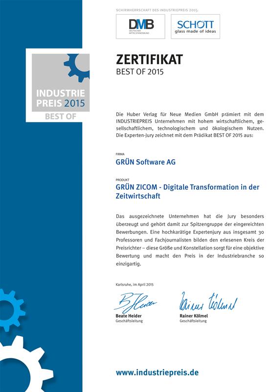 GRÜN ZICOM wurde mit dem Best of Industriepreis 2015 ausgezeichnet.