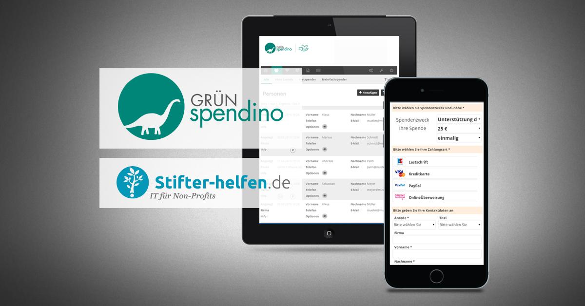 Die GRÜN Software AG bietet die Online-Fundraising-Lösung GRÜN spendino ab sofort als IT-Stifter bei Stifter-Helfen.de an.