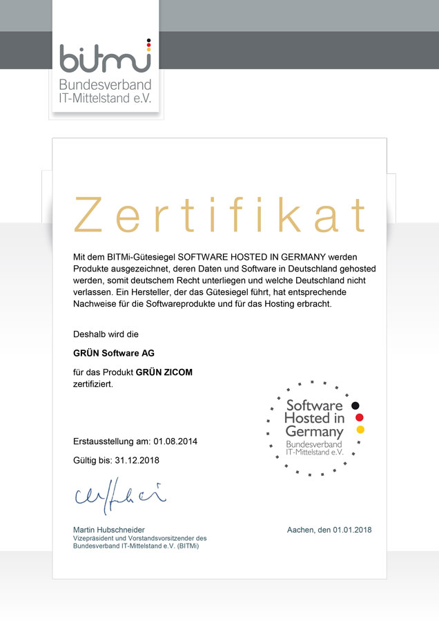 GRÜN ZICOM wurde mit dem Siegel Software Hosted in Germany vom BITMIT ausgezeichnet.