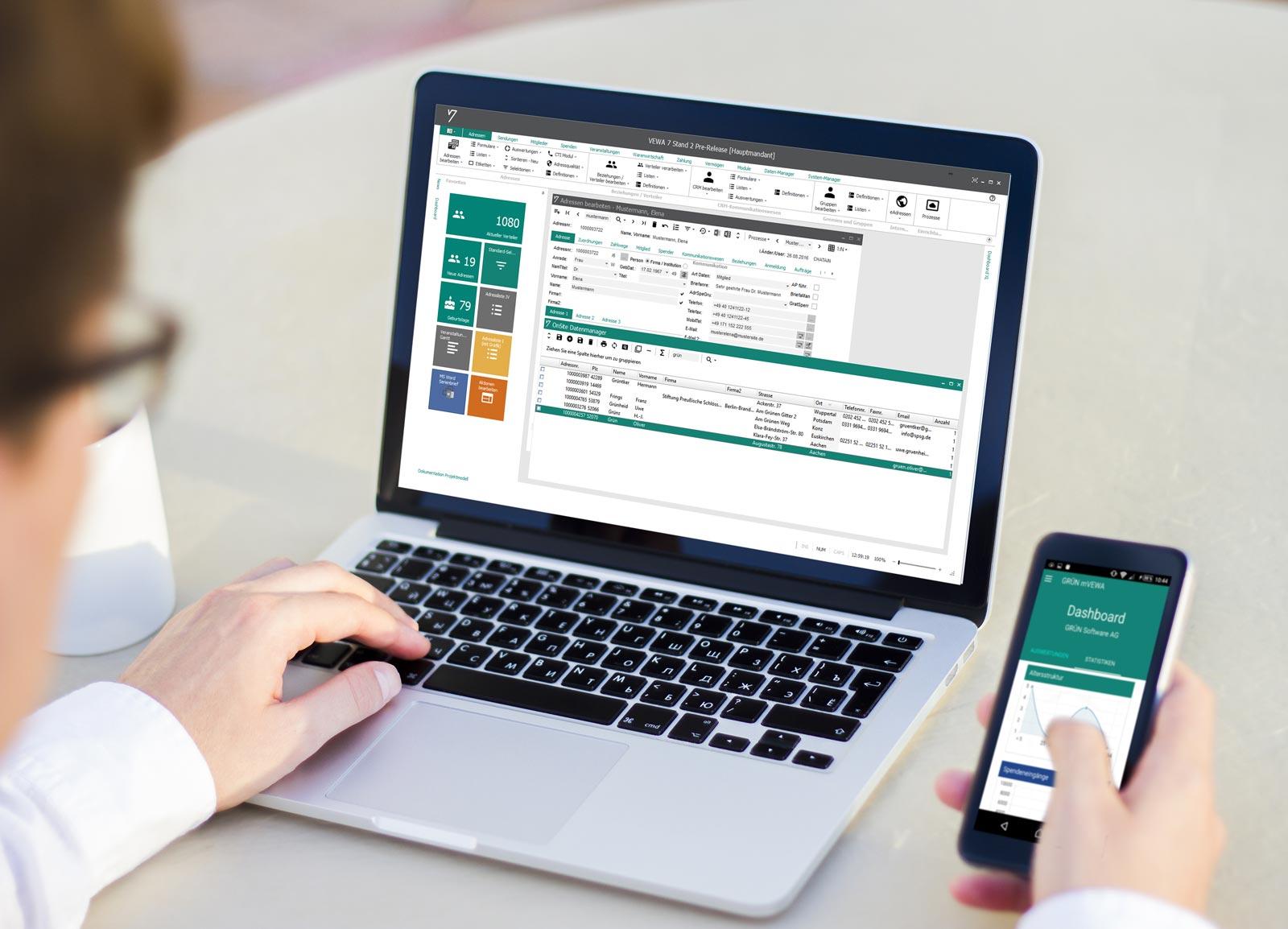 Die neue Version von GRÜN VEWA7 wurde grafisch komplett überarbeitet. Die neue native App GRÜN mVEWA erlaubt den Zugriff auf die wichtigsten Daten über mobile Endgeräte.