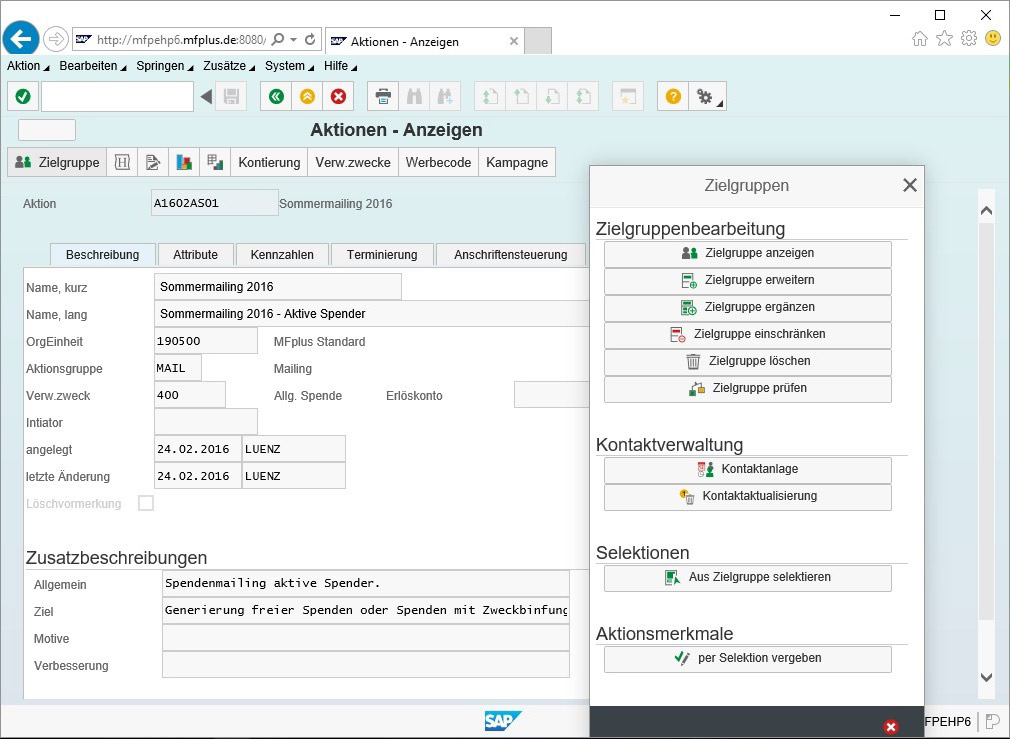 GRÜN MFplus ist SAP Software für Spendenorganisationen
