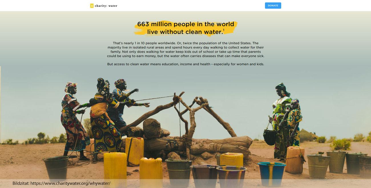 Charitywater.org - Bild vor Text