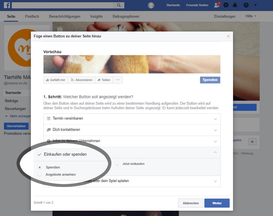 Facebook: Auswahl Spenden-Button