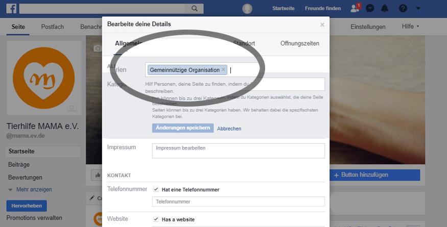 Facebook: Eingabe gemeinnützige Organisation