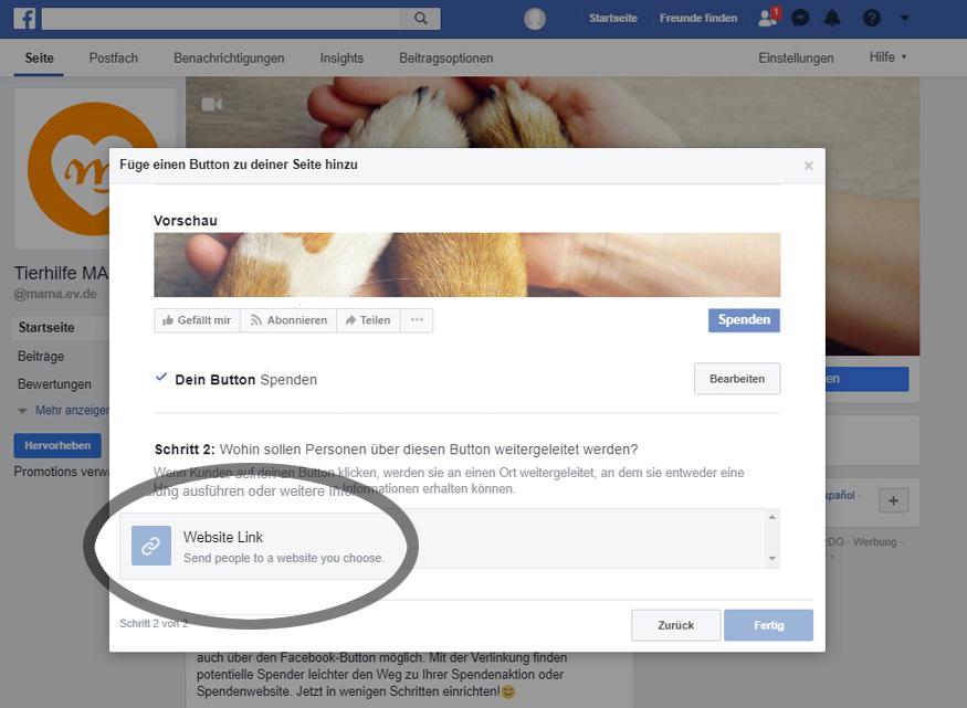 Facebook: Eingabe Website-Link