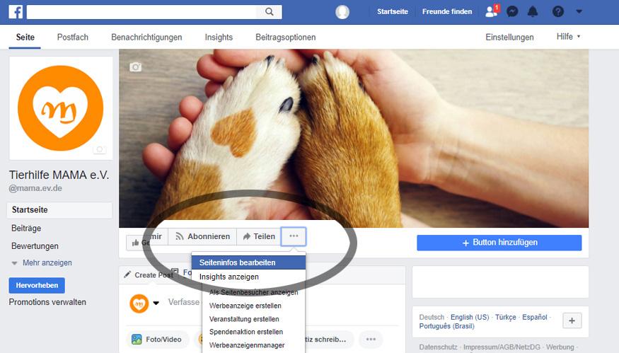 Facebook: Seiteninfos bearbeiten