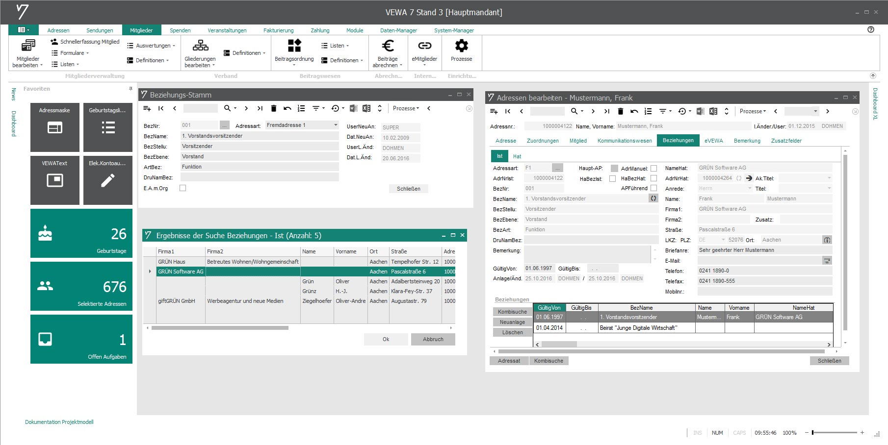 Funktionsträger, Gremien und Ausschüsse in GRÜN VEWA7 verwalten.