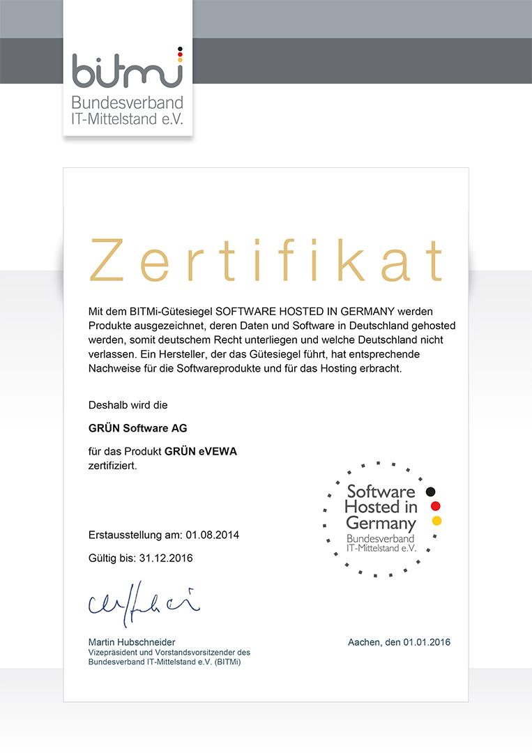 GRÜN VEWA6 wurde mit dem BITMi-Siegel Software hosted in Germany ausgezeichnet.