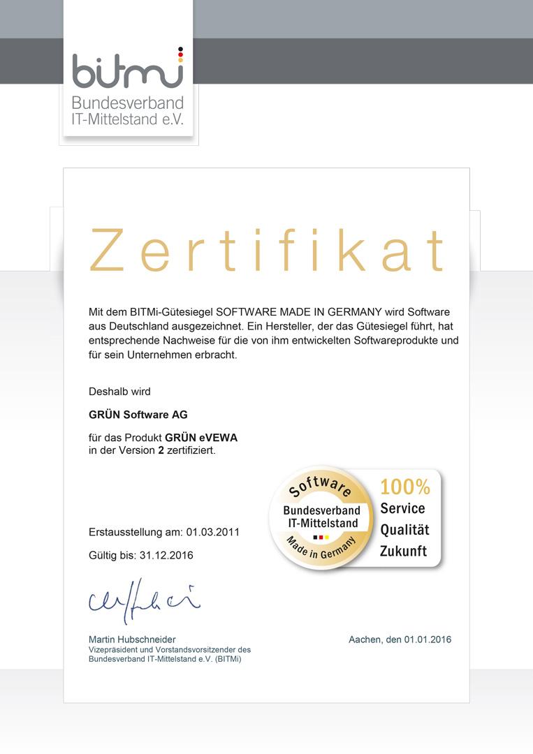 GRÜN eVEWA vom BITMi als Software made in Germany zertifiziert.