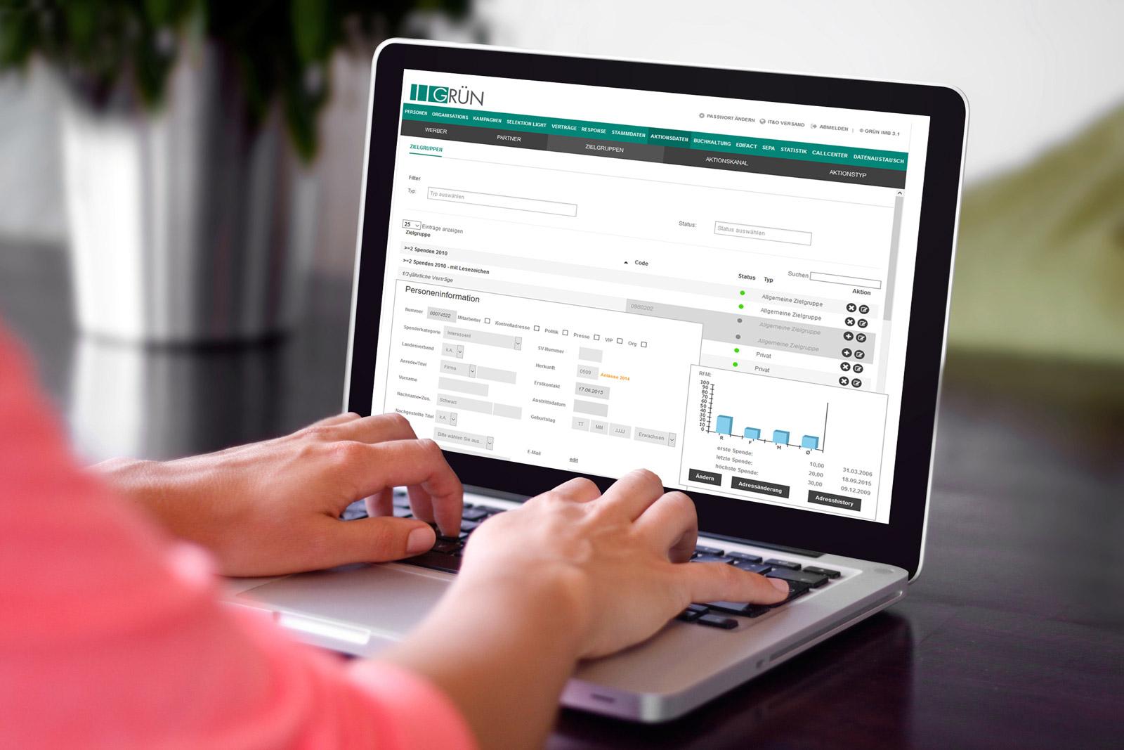 GRÜN IMB, die Software für Spendenorganisationen mit dem Schwerpunkt des automatisierten Kampagnenmanagements, wurde in der Version 2.8 grafisch überarbeitet.