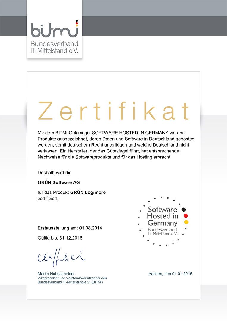 GRÜN LogiMore wurde mit dem Siegel Software Hosted in Germany vom BITMIT ausgezeichnet.