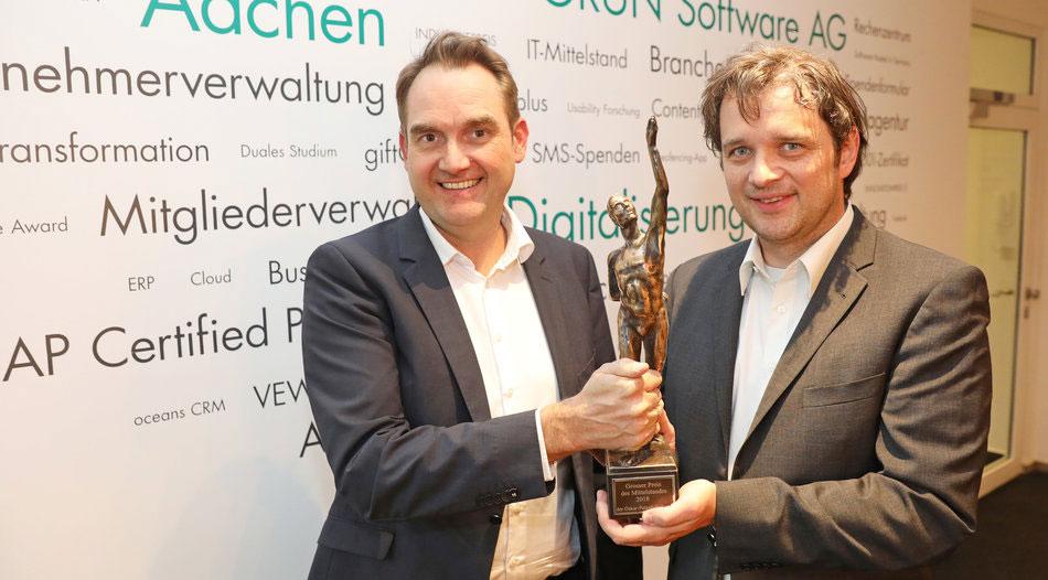 Oliver Grün und Andreas Palm mit dem Großen Preis des Mittelstands.