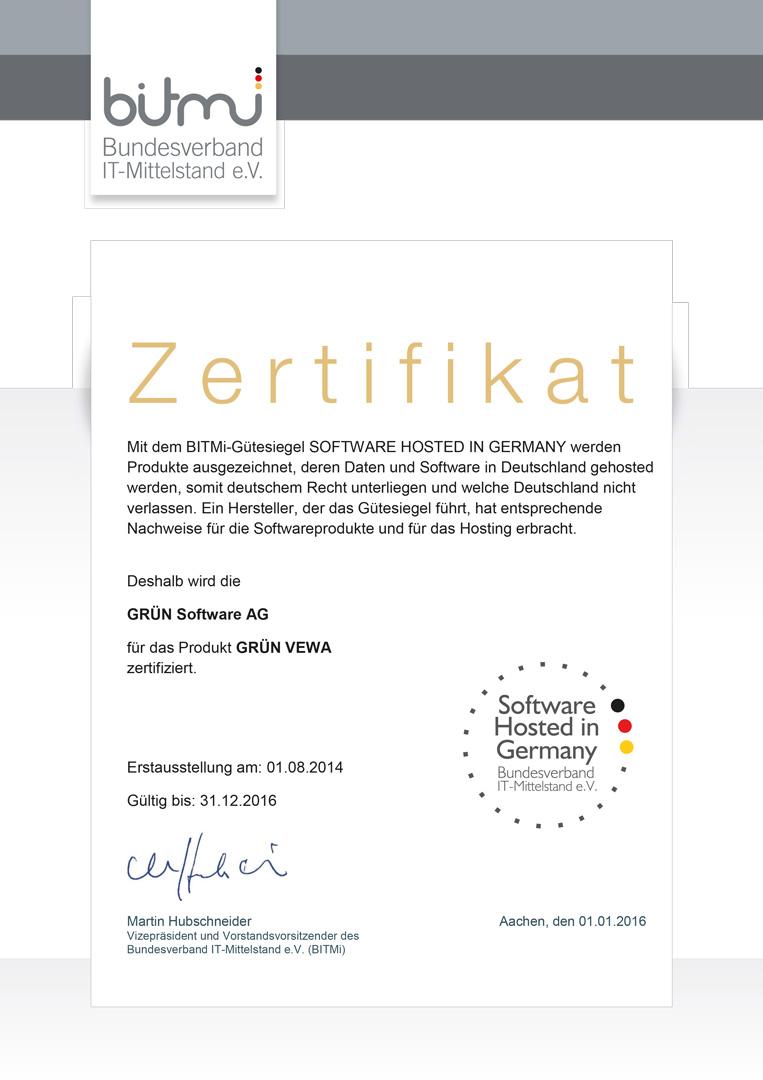GRÜN VEWA6 wurde mit dem BITMi-Siegel Software hosted in Germany ausgezeichnet