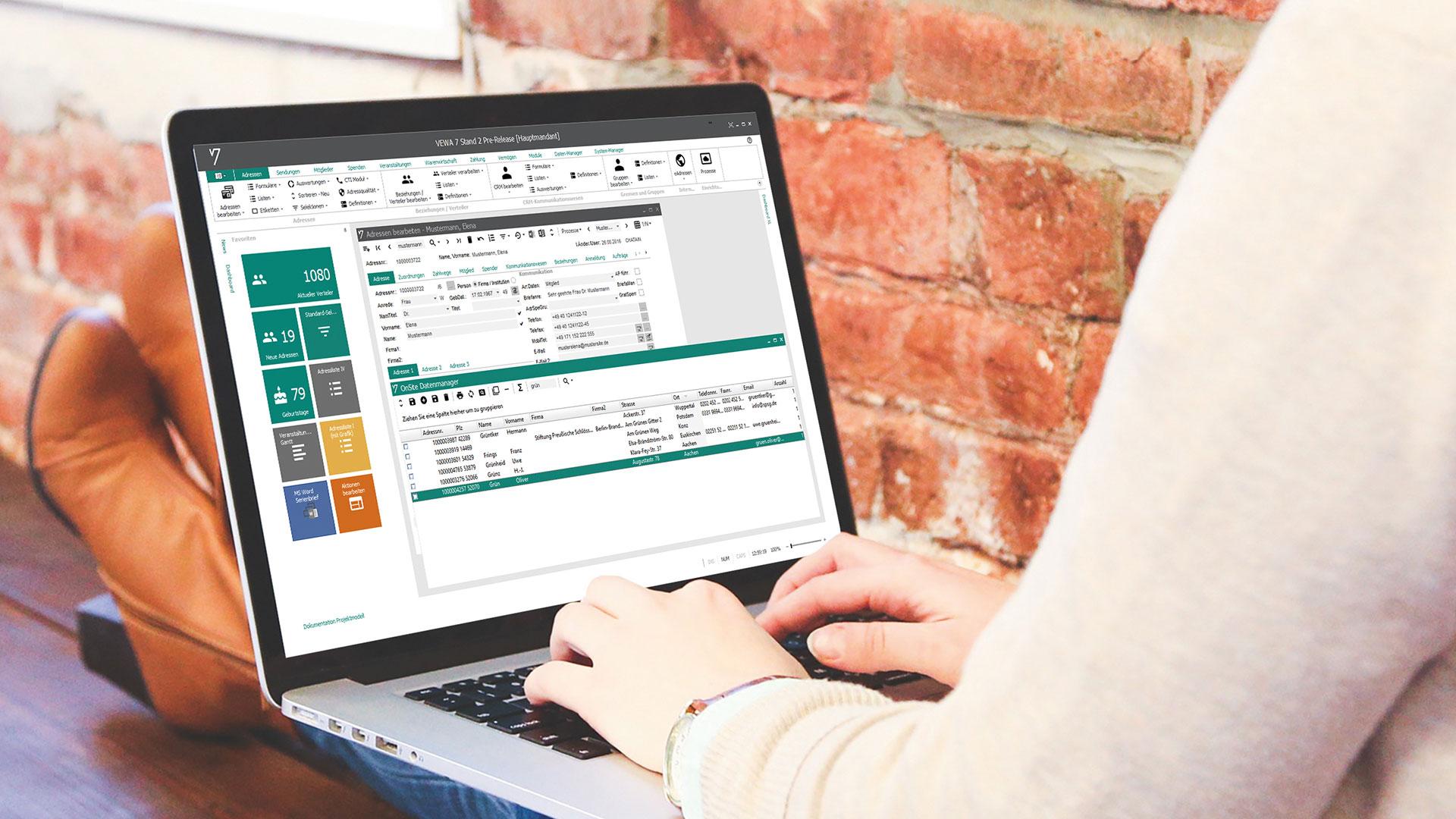 GRÜN VEWA7 - Software für Spendenorganisationen - Dashboard