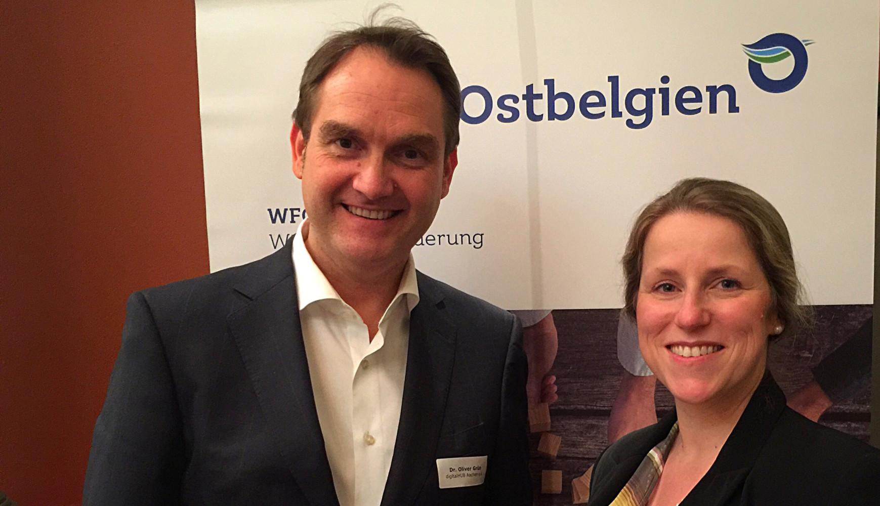 Dr. Oliver Grün, Vorstand der GRÜN Software AG und Isabelle Weykmans, stv. Ministerpräsidentin der Deutschsprachigen Gemeinschaft Belgiens.
