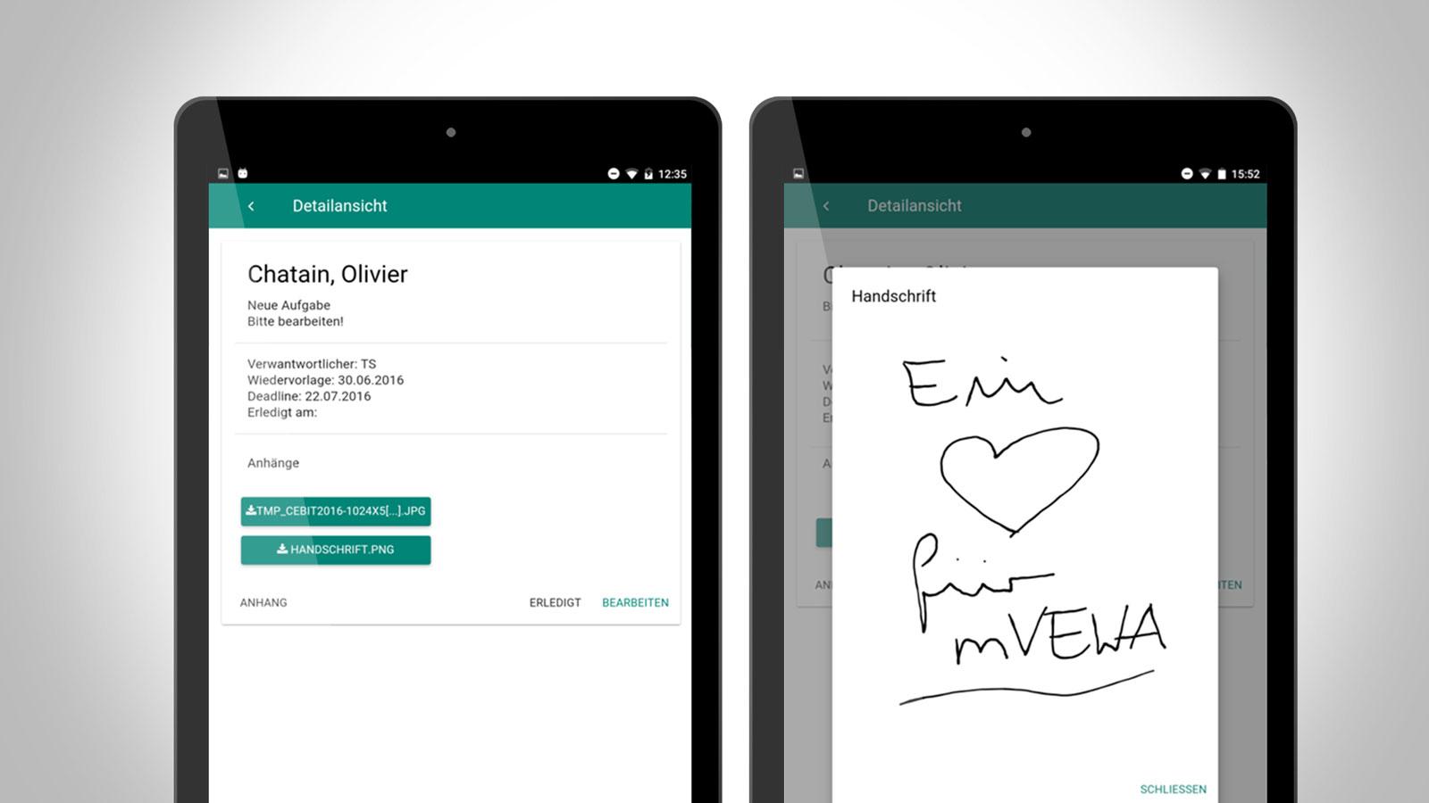 Aufgabenverwaltung über die GRÜN mVEWA App.