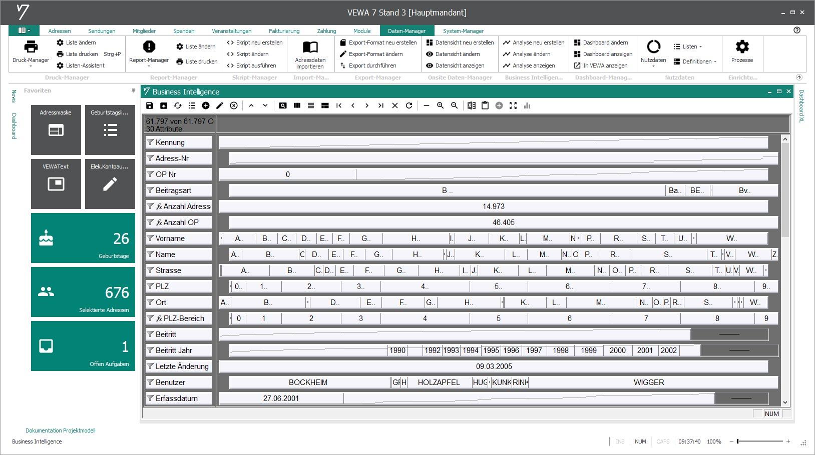 Ad-hoc Analysen über das Zusatzmodul Business Intelligence (BIM).
