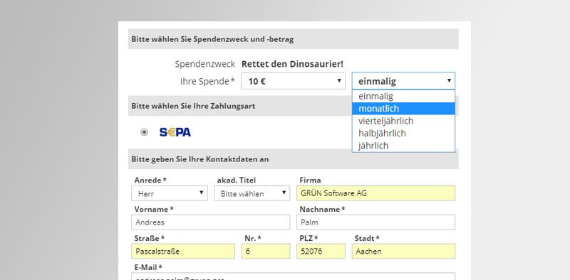 Online Spendenformular von GRÜN spendino.