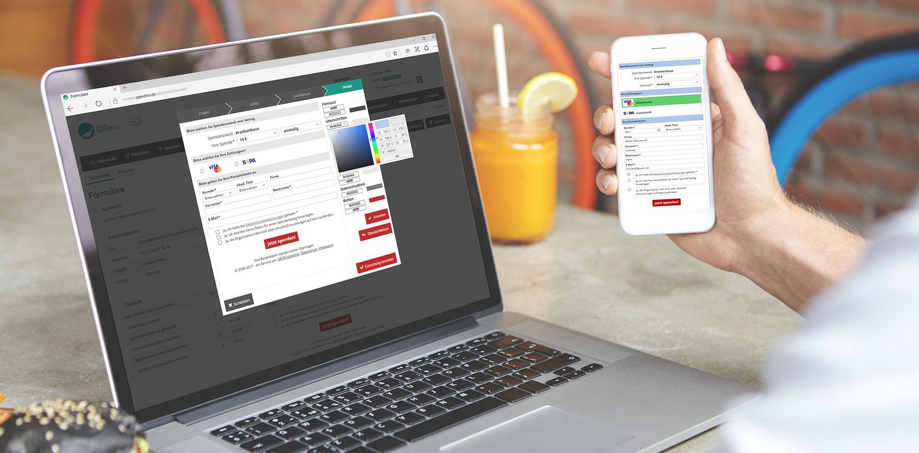 Online Spendenformulare von GRÜN spendino