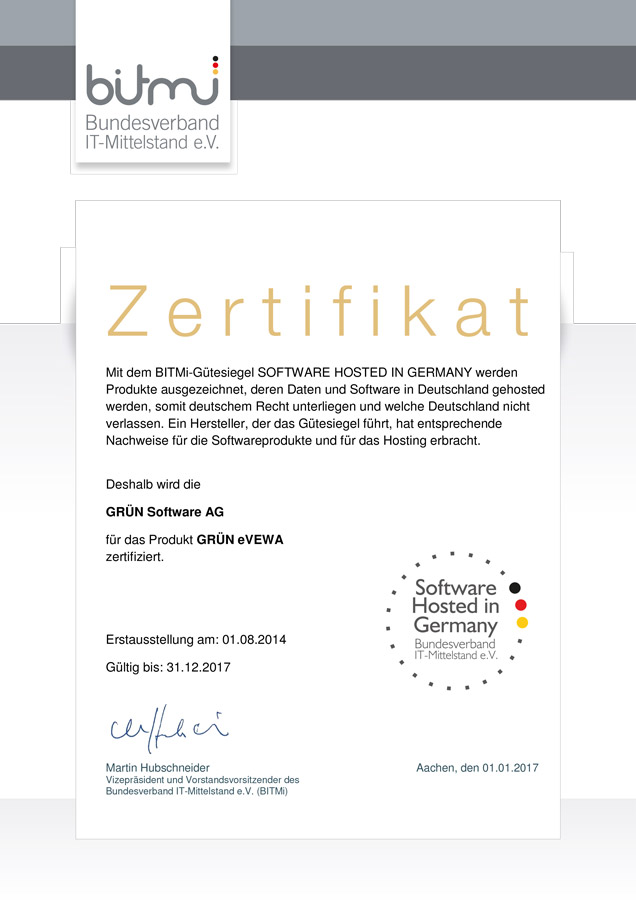 GRÜN eVEWA3 wurde mit dem BITMi-Siegel Software hosted in Germany ausgezeichnet.
