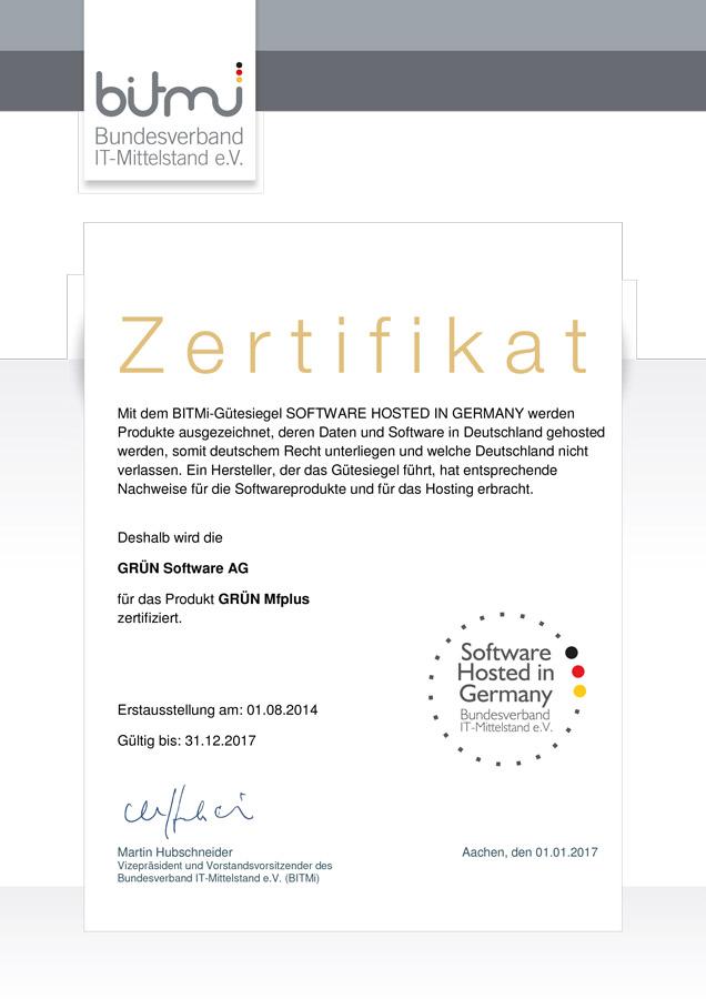 GRÜN MFplus wurde mit dem Siegel Software Hosted in Germany ausgezeichnet.
