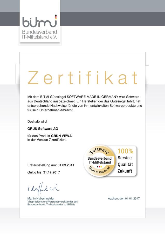 GRÜN VEWA vom BITMi als Software made in Germany zertifiziert.