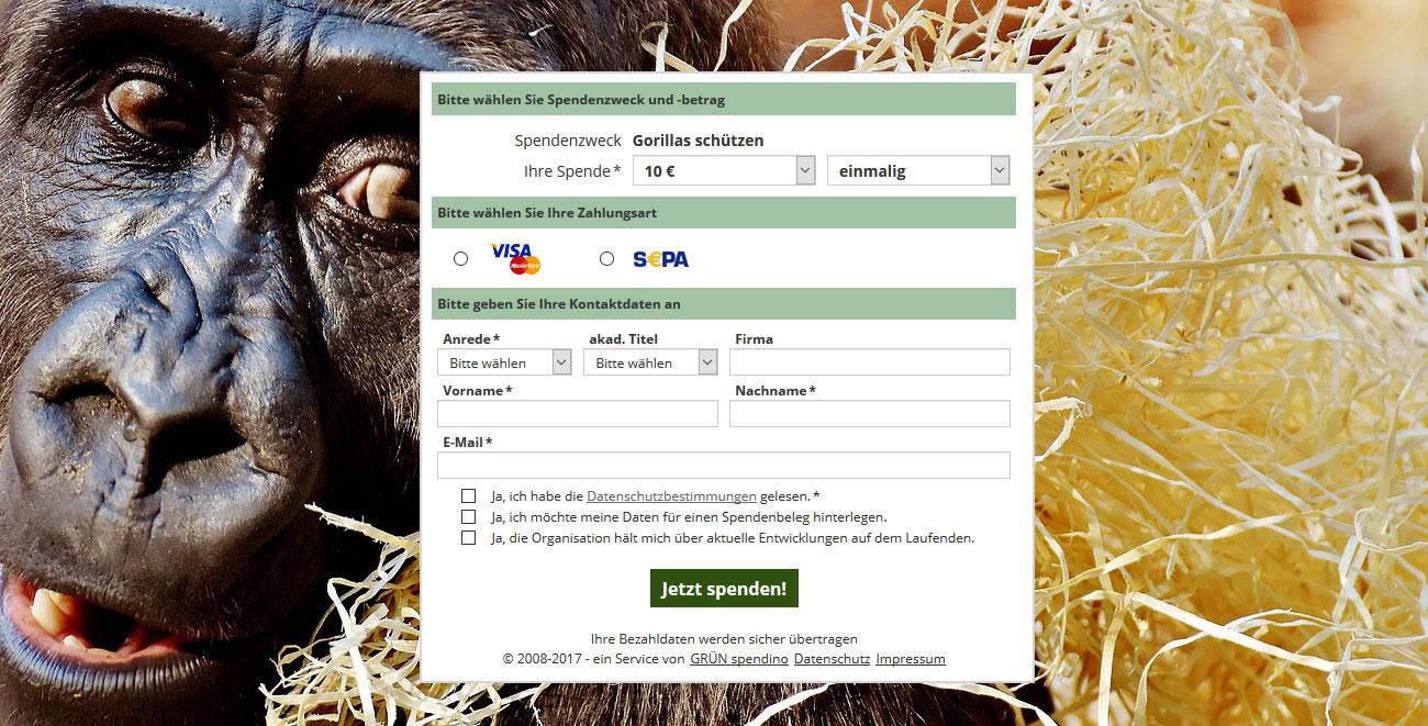 Spendenformular - Gorillas schützen