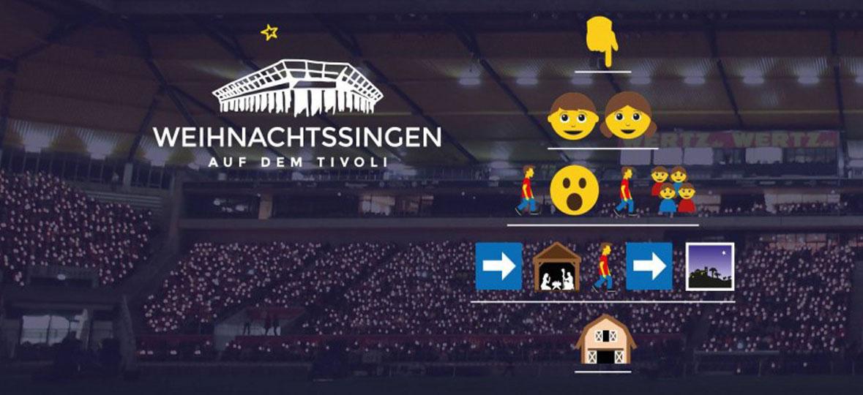 Das Weihnachtssingen 2016 findet am Sonntag, den 18. Dezember 2016 (4. Advent) von 18 Uhr bis 19.30 Uhr (Vorprogramm ab 17 Uhr) auf dem Aachener Tivoli statt.