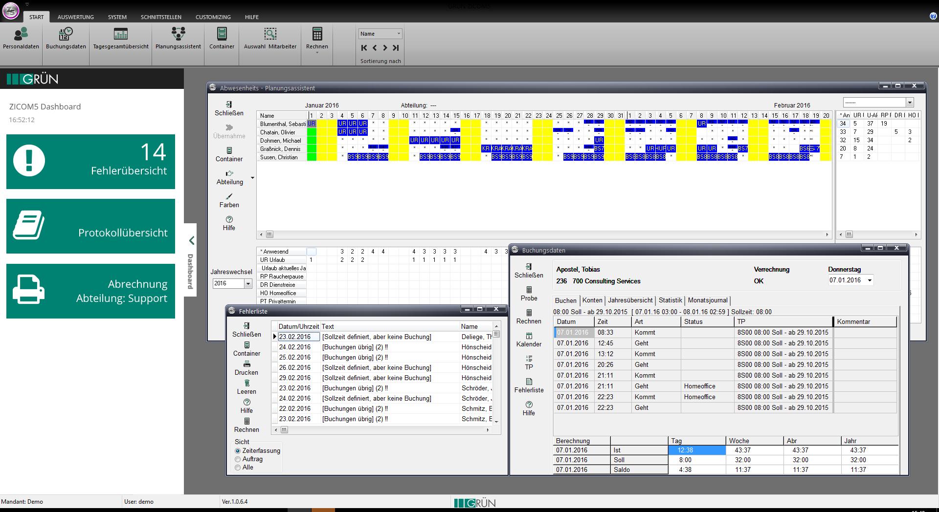 GRÜN ZICOM5 - Software zur Zeiterfassung